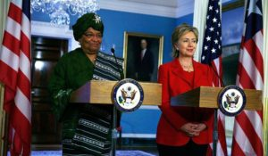 President Sirleaf and then U.S. Secretary of State Hillary Clinton