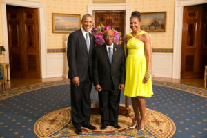 VP Boakai with U.S. President Obama and First Lady Michele Obama at the White House in DC