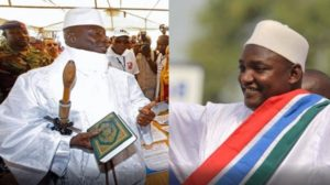 President Yahya Jammeh (left) and President-elect Barrow (right)