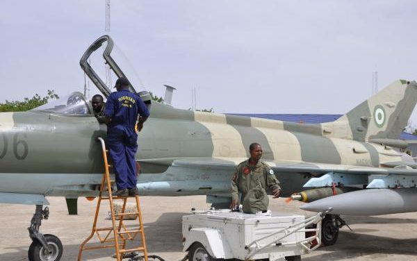 Nigerian air force aircraft in the agitated southwest