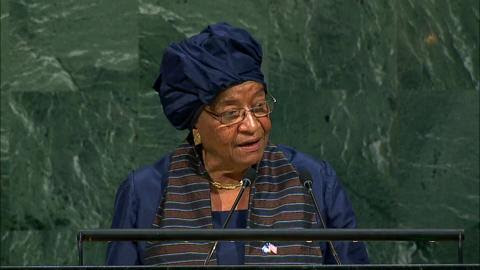 Liberian Leader Smooched UN General Assembly in Farewell Speech