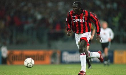 Weah sprints towards an open goal